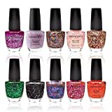 Nanacoco Nail Polish Color Lacquer Set 10-Piece Collection #26 Partying With Glitter