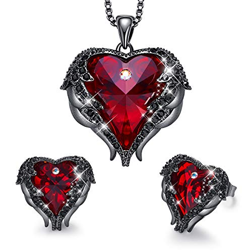 CDE Women Jewelry Set Embellished with Crystals from Swarovski Dark Red Pendant Necklace and Studs Earrings Love Heart Pendant Angel Wing Necklace Women Jewelry Gift for Mothers Day -