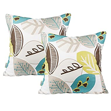 BLUETTEK Cotton Linen Decorative Pillowcase Square Throw Pillow Cushion Cover 18  X 18  (Green-2 Pack)