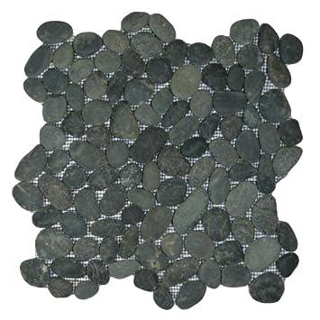 Amazoncom Charcoal Black Pebble Tile 1 sqft Mesh Mounted