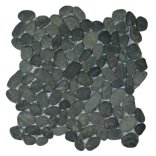 Charcoal Black Pebble Tile 1 sq.ft. (Mesh Mounted)