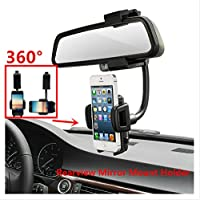 Car Mount, LUOMULONG Car Rearview Mirror Mount Truck Auto Bracket Holder Cradle for iPhone 7 7s 6 6s 6s plus 5s Samsung Galaxy S6 S6 edge S5 S4 Cell Phones Smartphone GPS PDA MP3 MP4 devices