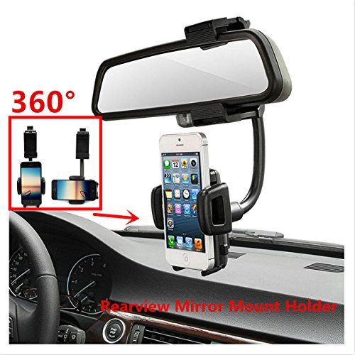 Car Mount, LUOMULONG Car Rearview Mirror Mount Truck Auto Bracket Holder Cradle for iPhone 7 7s 6 6s 6s plus 5s Samsung Galaxy S6 S6 edge S5 S4 Cell Phones Smartphone GPS PDA MP3 MP4 devices (Pda Gps Smartphone)