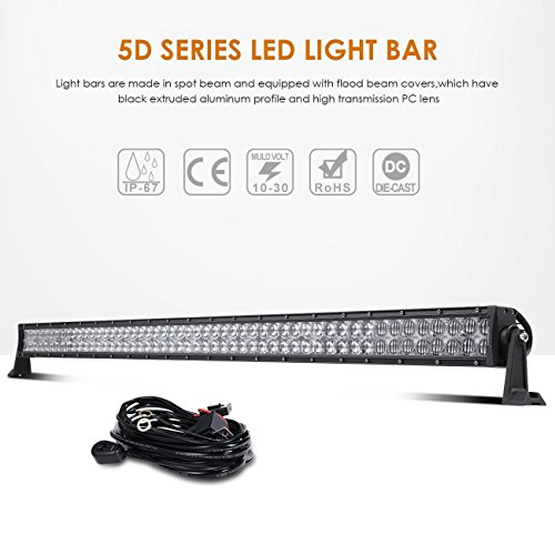 Auxbeam LED Light Bar 52 Inch 300W Off-Road Driving Lights Spot Flood Combo Led Work Light CREE Chips 5D Lens with Wiring Harness for Car JEEP Truck Pickup SUV UTV