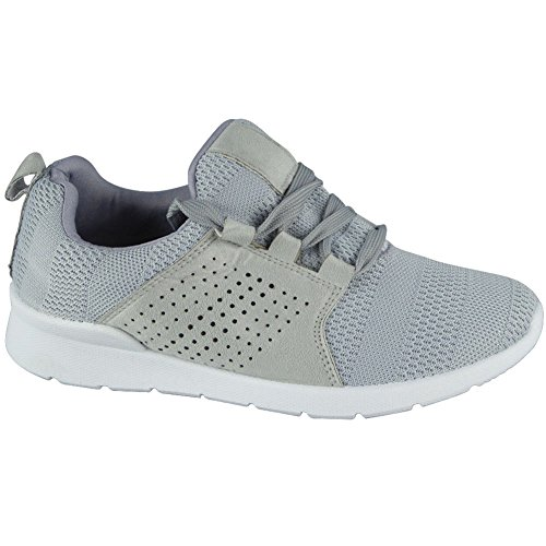 Ladies Running Trainers Womens Fitness Gym Light Sports Comfy Lace up Shoes Size 3-8 Grey Hc58I8