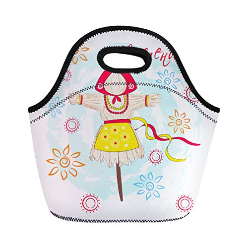 Semtomn Lunch Bags Yellow Abstract Shrovetide Maslenitsa Traditional Symbol Scarecrow Winter Wide Neoprene Lunch Bag Lunchbox Tote Bag Portable Picnic Bag Cooler Bag