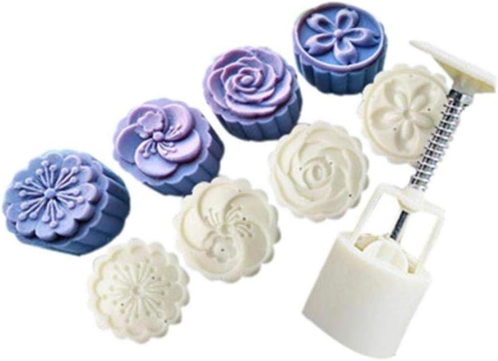Aisoway El Moho Flor Redonda de la Luna de la Torta del Molde del Molde Blanco Conjunto Mooncake decoraci/ón casera de la Cocina Blanca Pastel de Luna