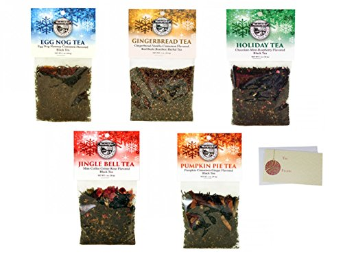 Market Spice Loose Leaf Tea, Christmas Holiday Tea Gift Set In Egg Nog, Gingerbread, Pumpkin Pie, Holiday And Jingle Bell Flavors. Tea Sampler Set, Assortment Variety Tea Pack Of 5 - 1 Oz. Each. (Christmas Tree Sampler)