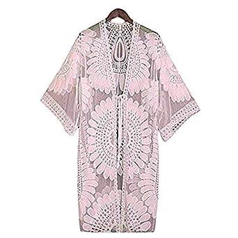 7b6cfcd39ebc Beach Cover Up Women Floral Lace Half Sleeve Swimwear Bathing Suit Casual  Loose Beach Bikini Cover Up Crochet Kimono Cardigan Tops Summer Long Dress  (Baby ...