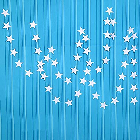 JUNEO TKSTAR Lacheln Star Party Decorations Birthday Baby Shower Christmas Hanging Paper Garland Silver