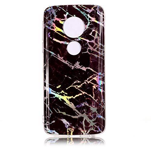 Maoerdo Moto G6 Plus Case,Laser Style Marble Design Cover,Colorful Lines Bling Bling Sparkling Shiny Flexible Glossy Soft Rubber TPU Case for Motorola Moto G Plus (6th Gen) 2018 - Monster Case Moto G