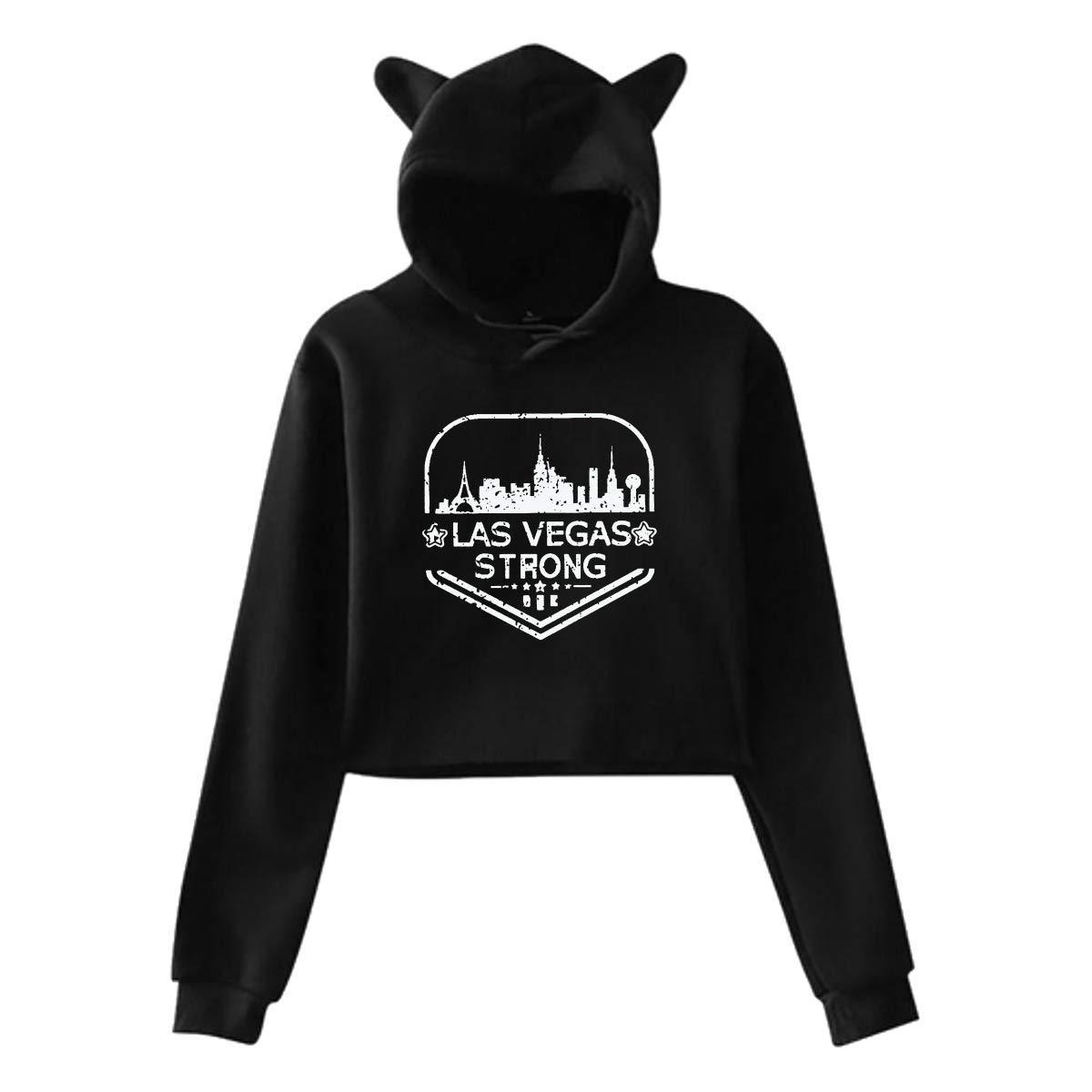 Las Vegas Strong Heartbeat,Cat Ear Hoodie Sweatshirts,Midriff-Baring Hoody Sweater Womens Sexy Stylish Hoodie Sweater Girls Cute Hoodies
