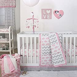Pink Elephant and Grey and White Chevron Patchwork 3 Piece Crib Bedding Set - Peanut Shell