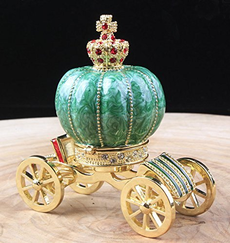 Fairy Jeweled Box (Vintage Jeweled Vanity Jewelry Carriage Box Nice Fairy Crown Trinket Box Carriage Jewelry Trinket Box)
