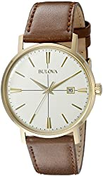 Bulova mens 97B151 20mm Leather Calfskin Brown Watch Bracelet