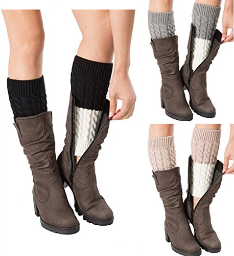 Womens Patchwork Splicing Leg Warmers Crochet Boot Socks Topper Cuffs 3 Pack (A)