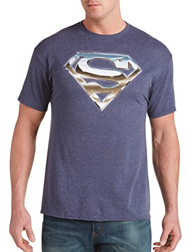 Superman Chrome Logo Big & Tall Short Sleeve Graphic T-Shirt (2XTall, Navy Heather) (Super Logo Graphic Tee)