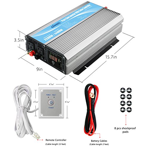 Giandel 2200W Pure Sine Wave Power Inverter 12V DC to 120V AC with 20A Solar Charge Control and Remote Control&LED Display and Dual AC Outlets &1x2.4A USB Port for RV Truck Car Solar System by Giandel (Image #4)