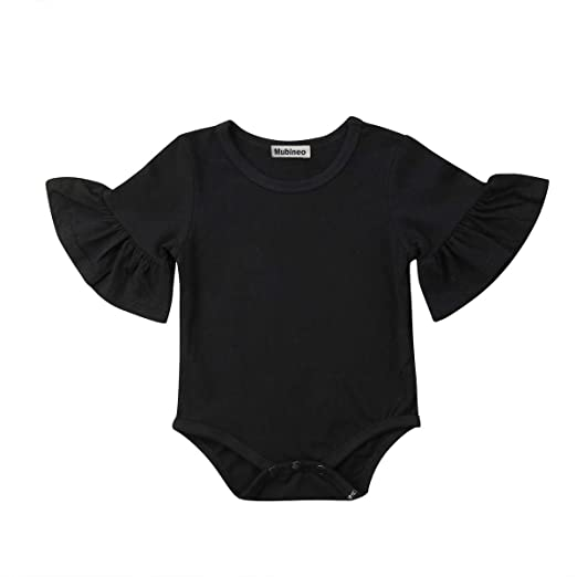 39651ba1db8 Infant Baby Girl Basic Bell Short Sleeve Cotton Romper Bodysuit Tops  Clothes (Black
