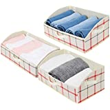 GRANNY SAYS Trapezoid Storage Bin, Closet Baskets and Bins for Shelves, Closet Shelf Organizer, Fabric Bins for Storage, Red, Green and Buttermilk, Jumbo, 3-Pack