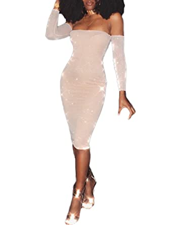 a5a2765e Ninimour Women's Glittering Off Shoulder Bodycon Midi Dress X-Large Nude