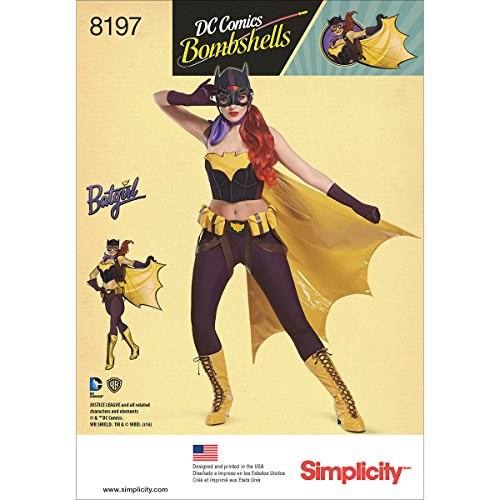 Simplicity 8197 D.C. Bombshells Bat Girl Costume, H5 (6-8-10-12-14)