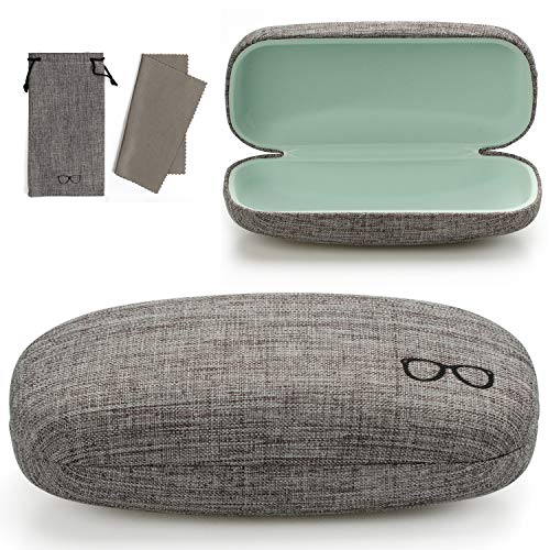 Vemiss Hard Shell Eyeglasses Case Soft Linen Fabrics Portable Glasses Sunglasses Box (Large, ()