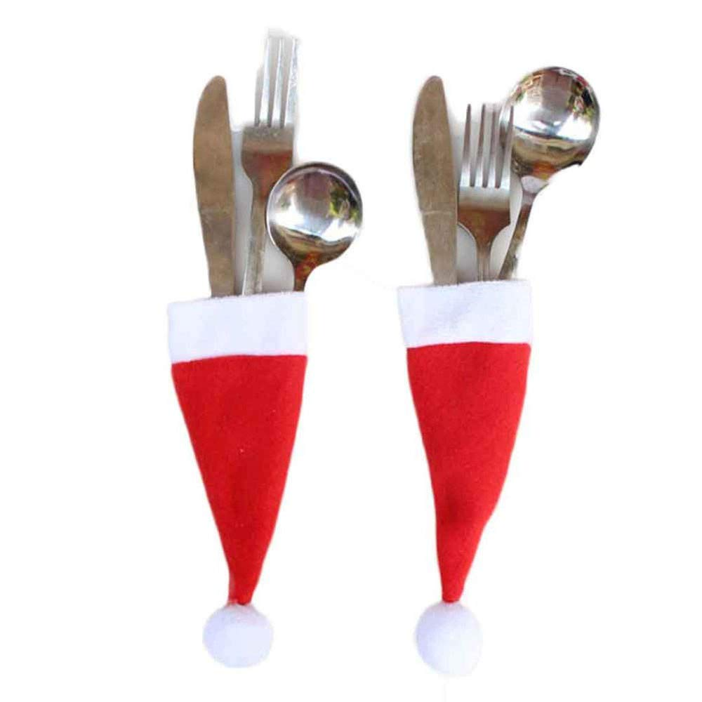 Rambling 1/5/10 Pcs Mini Christmas Hat for Wine Bottle Covers Spoon Fork Knife Cutlery, Christmas Feast Dinner Table Decoration Gift (5)