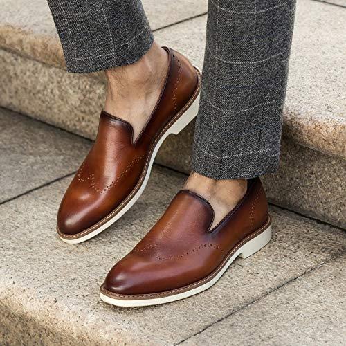 para 43 a Oficina Hechos Mano Head Size Color de Masculina Brass Brown de EU Zapatos Casuales Oxfords Hombres Block Genuino Mocasines Ruanyi Round Cuero Mocasines TxnBP4nEw