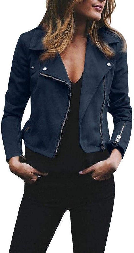 Zippem Women Casual Long Sleeve Turn-Down Collar Zipper Short Outwear Slim Casual Jackets
