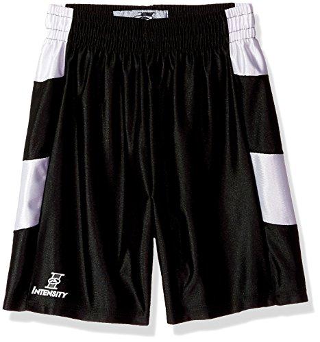 Intensity Unisex Youth Chevron Side Panel Dazzle Basketball Short, Black/White, Large