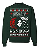 All I Want for Christmas is Snow Jon Snow Game of Thrones Ugly Christmas Sweater (S, F.Green)
