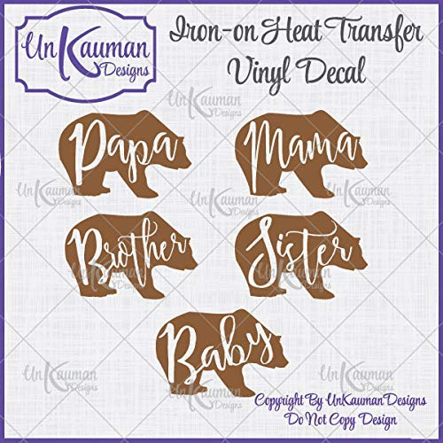 Bear Family Iron On Vinyl Decals for Clothing