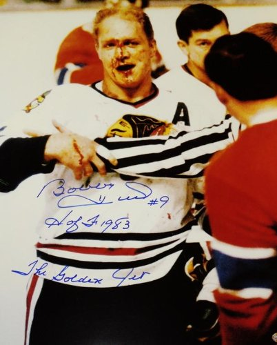 Signed Bobby Hull Picture - 16x20 BLOODY FACE DOUBLE Inscriptions - PSA/DNA Certified - Autographed NHL Photos
