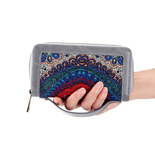 Dual Cash Phone Clutch for Card Coin Premium for HAWEE With Smart Strap Wallet Big Woman Long Purse Floral Zippered PU Size Grey 8SSqY6fnT