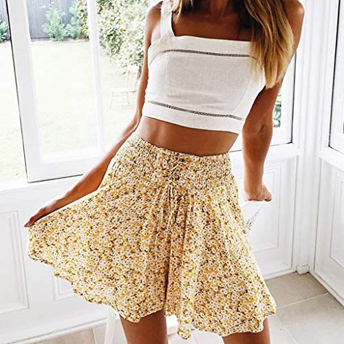 TWGONE Ruffled Mini Skirt For Women Summer Bohe High Waist Floral Print Beach Short Skirt (Small,Gold) by TWGONE (Image #3)