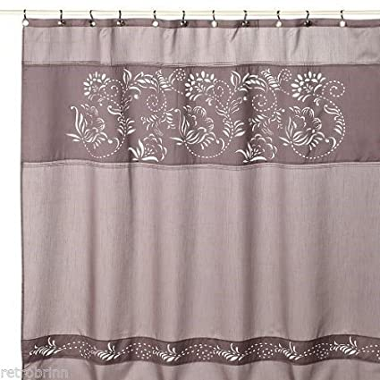Anthology Waterville Laser Cut Floral Luxury Grey Faux Silk Fabric Shower Curtain
