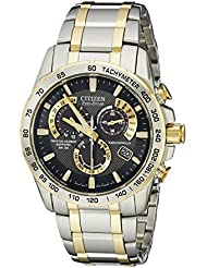 Citizen Mens AT4004-52E Perpetual Chrono A-T Two-Tone Eco Drive Analog Quartz Stainless Steel Silver Watch