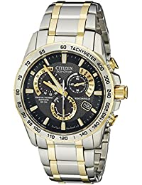 Men's AT4004-52E Perpetual Chrono A-T Two-Tone Eco Drive Analog Quartz Stainless Steel Silver Watch