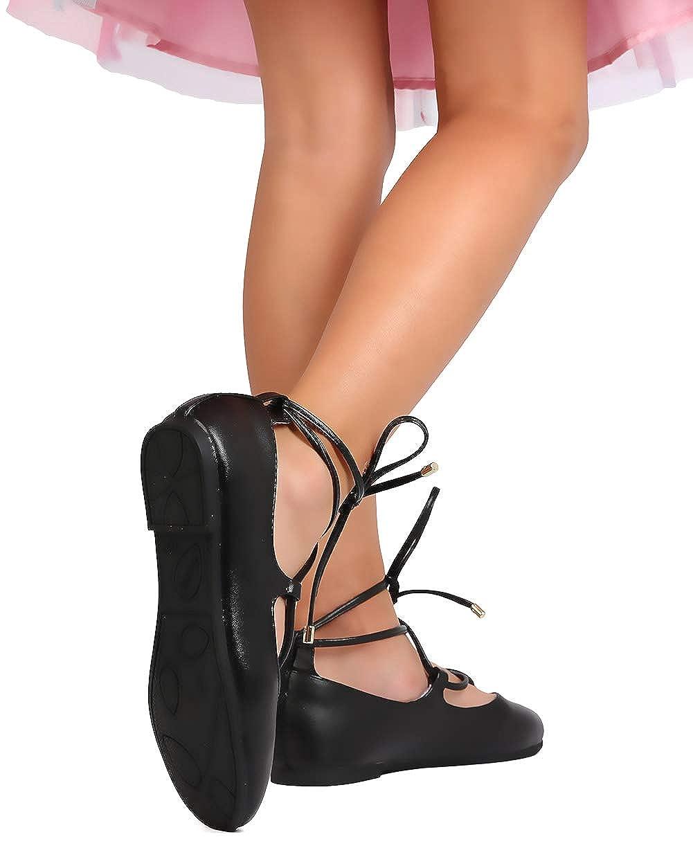 db5404502 Amazon.com   Girls Leatherette Lace Up Ankle Wrap Ballet Flat FH15 - Black ( Size: Toddler 9)   Flats