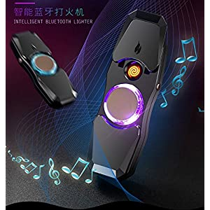 Bluetooth Speaker Electronic Cigarette Lighter Music player 3 in 1 USB Rechargeable Windproof Flameless Pulse Christmas gift for Father kill time toy sress relief instrument (black)