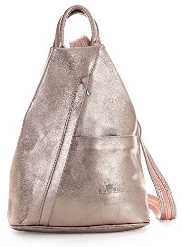 LIATALIA Unisex Soft Italian Leather Convertible Strap Small Backpack Rucksack Duffle Bag - ALEX [Metallic - Rose Gold]