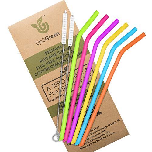 Up2Green Silicone Straws for 30 oz 20 oz Tumblers, REGULAR SIZE Reusable Straws set of 6 & 2 COTTON (Plastic Free) Cleaning Brushes, Extra Long Flexible Straws for Yeti Ozark Rtic, FDA, BPA Free