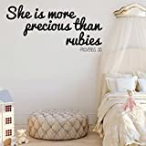 Christian Wall Decal - She Is More Precious Than Rubies - Vinyl Sticker Decoration for Girl's Bedroom Decor