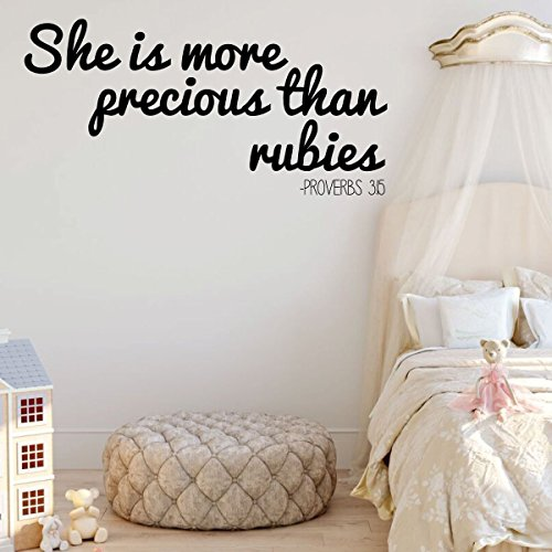 Christian Wall Decal - She Is More Precious Than Rubies - Vinyl Sticker Decoration for Girl's Bedroom Decor by CustomVinylDecor