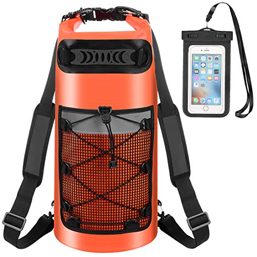Waterproof Dry Bag - Roll Top Dry Backpack Floating Sack 10L/20L/30L with Water Resistant Phone Case for Beach, Kayaking, Rafting, Boating, Swimming, Fishing, Hiking, Birthday Gift (Orange, 10L)