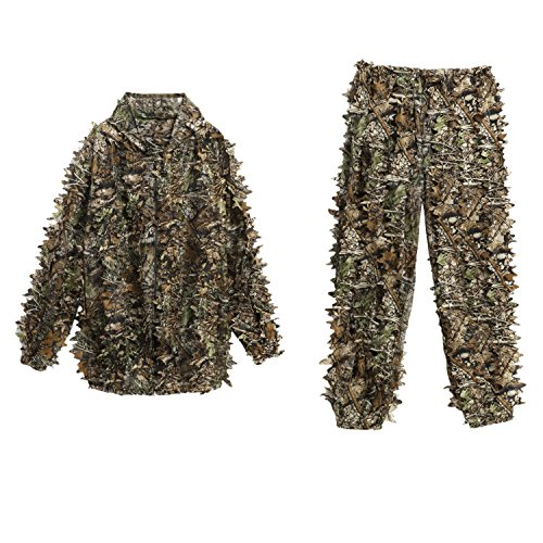 Ancheer Ghillie suit Woodland 3D Leafy Camo suit Camouflage