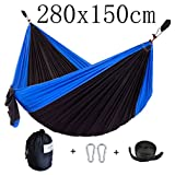 CUTEQUEEN TRADING Parachute Nylon Fabric Hammock With Tree straps;Color: Black/Blue