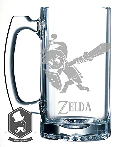 Zelda Link Master Sword Slash Video Game Inspired 25 OZ Hand-made Etched Beer Mug Glass Stein