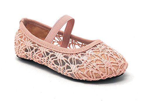 Simply Petals Little Girl's Toddlers Breathable Crochet Cute Lace Ballet Flat in Blush Size: (Toddler Petal)